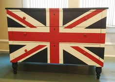Derrik, we should make this for you!  I feel like it is something that is cool and bad ass. Union Jack Dresser Chalk Painted Furniture by cocolagitane on Etsy, $950.00