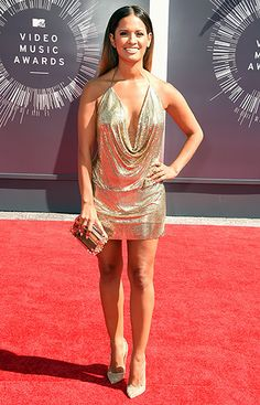 Rocsi Diaz: shined in a custom gold mini halter dress by Haute Hippie and pumps.