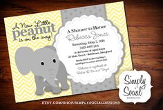 Elephant Baby Shower Invitation Yellow and Grey Little Peanut Printable