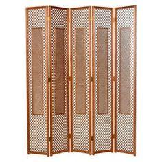 Midcentury Five-Panel Teak Folding Screen Room Divider