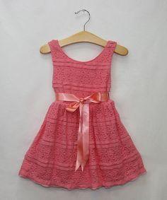 Look at this #zulilyfind! Coral Flower Lace Dress - Infant, Toddler & Girls #zulilyfinds