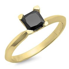 Looking for a black diamond engagement ring?  - 1.00 Carat (ctw) 10K Yellow Gold Princess Cut Black Diamond Ladies Engagement Ring 1 CT (Size 8)	by DazzlingRock Collection