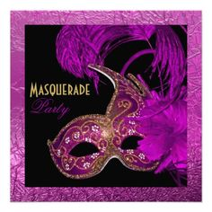 #Masquerade #quinceañera #fifteenth #birthday #party #fuchsia #pink and #gold #invitation with #Venetian #mask and #feathers and #border with crumbled #texture.  See more gifts of the same design here http://www.zazzle.com/yourbirthday/gifts?cg=196264960425734313=238228936251904937=zBookmarklet