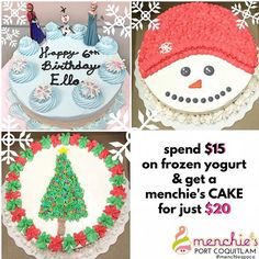 """@menchiespoco's photo: """"FROYO CAKES FOR ALL OCCASIONS While quantities last, spend $15 or more on frozen yogurt & get a menchie's CAKE for just $20! perfect for your next holiday PARTY"""""""