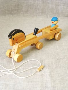 Vintage Horse and Buggy Pull Toy, Wooden, Belarus, Soviet Toys, Nursery Decor