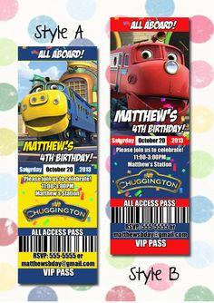 Chuggington Birthday Party Invitation Ticket Style by DigiPopCards, $12.99