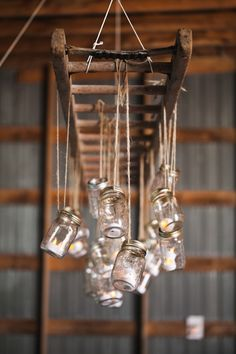 Wedding Chandelier Created with Mason Jars & An Antique Ladder!