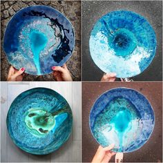 Collection of ocean ceramic bowls by projectorium. Blueish, maritime colours to use as a tabledecoration or gift idea.