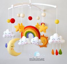 Baby mobile Rainbow / Clouds mobile / Stars mobile / Nursery mobile / Crib mobile / Baby mobile neutral / Baby mobile girl / Baby mobile boy : Baby mobile Rainbow Clouds mobile Moon mobile Sun by minimezShop Cloud Mobile, Baby Mädchen Mobile, Mobile Mobile, Rainbow Cloud, Rainbow Baby, Moon Rainbow, Baby Decor, Baby Shower Decorations, Welcome Home Decorations
