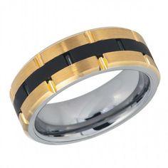 Tungsten Wedding Band, Black Tungsten Ring, Yellow Tungsten Band Mens