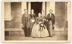 """CDV photo of members of the Tombs family posed on the sidewalk in Jersey Shore, Pennsylvania. Photographer is J. F. Nice out of Jersey Shore. This image came from the estate of George Tombs of Jersey Shore. ca. early 1860s  abvintagephotos, via eBay"""