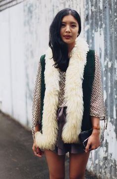 A faux shearling vest is the perfect thrown on over a blouse and flouncy shorts. #aritziagiftguide #thefashionista