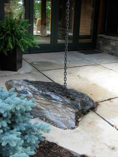 Rain chain lands on rock - Sarah Susanka Natural Farming, Rain Collection, Lawn Sprinklers, Rainwater Harvesting, Water Conservation, Water Features, Green, Plants, Rain Chains