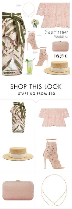 """Say I Do: Summer Weddings"" by soranamikaze ❤ liked on Polyvore featuring Johanna Ortiz, Miguelina, Filù Hats, Giuseppe Zanotti, Dune, Jacquie Aiche and Diane James"