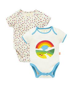 Little Bird by Jools Floral and Rainbow Bodysuits - 2 Pack - bodysuits - Mothercare