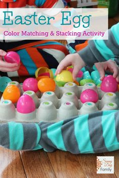 Use those plastic Easter eggs for this fun color matching & stacking activity! A fun Easter egg activity for toddlers and preschoolers, this low prep Easter learning activity will keep little ones entertained and help them learn colors too!