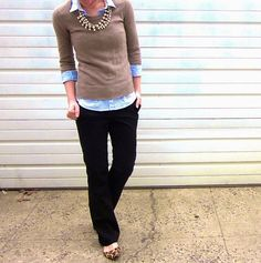 Leopard shoes, Black trousers, Chambray shirt, Beige sweater Gold accesories - Casual Outfit