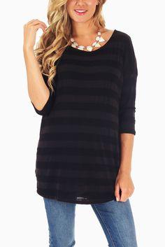 Black-Striped-3/4-Sleeve-Maternity-Top #maternity #fashion #cutematernityclothing #cutematernitytops #affordablematernityclothing #transitionalclothing