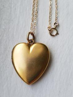 Antique Victorian Gold Heart Photo Locket No by MemoryStation