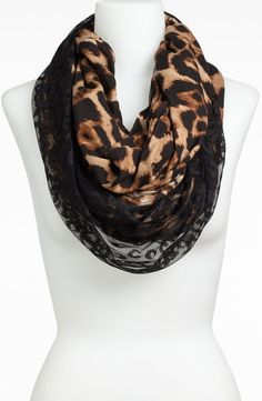 Lulu Animal Print & Lace Infinity Scarf | Nordstrom