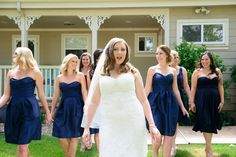 Sassy picture with bridesmaids. Bride with attitude and bridesmaids looking gorgeous in Navy Blue bridesmaid Alfred Sung mix and match dresses. Navy Blue Bridesmaid Dresses, Wedding Bridesmaids, Wedding Dresses, Rustic Blue, Rustic Chic, Diy Outdoor Weddings, Alfred Sung, Alternative Wedding, Looking Gorgeous