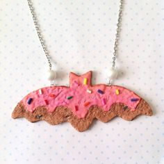 Batman cookie necklace polymer clay by FlowerChildCharms on Etsy