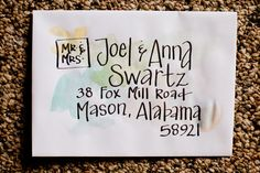 Hand addressed envelopes, watercolor optional. $1.00, via Etsy.