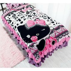Hello Kitty Single Frilly Bedcover Bedspread Bed Cover SANRIO Japan Gift F/S
