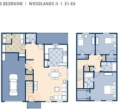 NCBC Gulfport – Woodlands II Neighborhood: 3 bedroom townhouse floor plan.