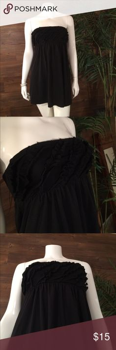 ⌛️ONE DAY SALE⌛️Swim cover up Black ruffle top swim cover up size medium but fits like small Swim Coverups