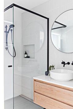 Scandinavian Bathroom decor inspiration with Round Bathroom Vanity Mirror via TheStables.AU Bathroom Layout, Modern Bathroom Design, Bathroom Interior Design, Small Bathroom, Bathroom Ideas, Bathroom Black, Bathroom Organization, Master Bathrooms, Silver Bathroom