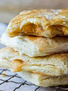 Prosciutto & Cheddar Hot Pockets ___ uses frozen puff pastry (thawed), cheddar, cornstarch, ground mustard powder, evaporated milk, Worstershire & hot sauces, prosciutto (or ham), & 1 egg.