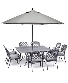 "Vintage II Outdoor Cast Aluminum 9-Pc. Dining Set (64"" X 64"" Table & 8 Dining Chairs) With Sunbrella® Cushions, Created for Macy's 4 Dining Chairs, Outdoor Dining Furniture, Patio Dining, Dining Set, Rectangle Dining Table, Square Tables, Outdoor Cushions, Colorful Furniture"