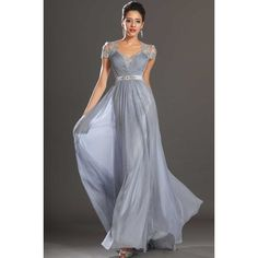 V Neck Floor Length Princess Silver Chiffon Military Ball Dress With... ($135) ❤ liked on Polyvore featuring dresses, gowns, silver evening gowns, floor length gowns, beaded gown, silver gown and silver evening dresses