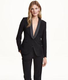 Model wears Black Fitted Tuxedo Jacket for lookbook Photoshoot