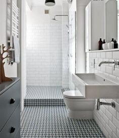 Browse modern bathroom ideas images to bathroom remodel, bathroom tile ideas, bathroom vanity, bathroom inspiration for your bathrooms ideas and bathroom design Read Attic Bathroom, Laundry In Bathroom, Bathroom Renos, White Bathroom, Bathroom Flooring, Bathroom Interior, Wood Flooring, Bathroom Ideas, White Shower