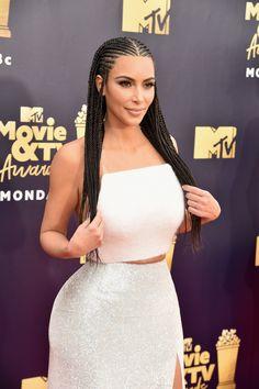 Kim Kardashian West Is Being Dragged for Wearing Fulani Braids to the MTV Awards # kim kardashian Braids natural # kim kardashian Braids natural Box Braids Hairstyles, Black Girl Braided Hairstyles, Black Girl Braids, Braids For Black Hair, Girls Braids, African Hairstyles, Black Women Hairstyles, Girl Hairstyles, Braids For Black Women Cornrows