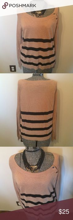 Loft boat neck tan and black sweater size M Never worn tan sweater with black stripes from Loft. Button detail near the should. 53% cotton, 40% rayon, 7% nylon. Necklace for sale in a separate listing. LOFT Sweaters Crew & Scoop Necks