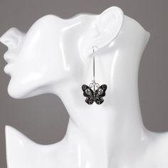 Gothic Butterfly Skull Dangle Earrings - Skullflow    https://www.skullflow.com/collections/skull-earrings/products/butterfly-skull-dangle-earrings