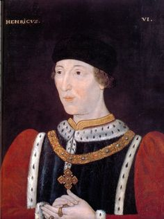 Henry VI, House of Lancaster, b.06 December 1421 d.21 May 1471, son of Henry V & Catherine of Valois, King of England 1422-1461. Becomes king at age 8 months. War of the Roses begans during his reign. Mentally unstable and  murdered in the Tower of London.