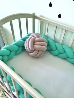 braided crib bumper knot pillow knot cushion decorative pillow bolster crib bedding crib. Black Bedroom Furniture Sets. Home Design Ideas