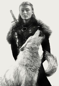 'Sansa' by Greg Ruth. Part of his 52 Weeks Project series, 'Songs Of Ice & Fire', original portraits of characters from the HBO series, 'Game Of Thrones'. Casa Stark, House Stark, Familia Stark, Alex Pardee, Game Of Thones, The North Remembers, Game Of Thrones Art, Arkham City, Pop Culture Art