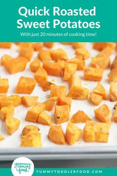 With just 20 minutes of cooking time, you can serve up these Easy Roasted Sweet Potatoes as a simple family dinner side dish. Or, you can make a batch ahead of time and pack them in a kiddo's lunch—they're a perfect finger food! Crispy Sweet Potato, Sweet Potato Recipes, Roasted Sweet Potatoes, Dinner Side Dishes, Dinner Sides, Side Dishes Easy, Toddler Meals, Kids Meals, Toddler Food