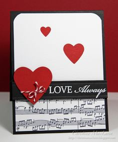 black, white and red...music on bottom, black band, hearts