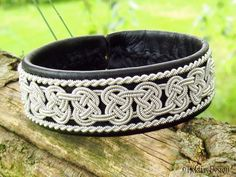 BEOWULF Sami Bracelet - Viking Lapland Bracelet in Black Reindeer Leather with Spun Pewter Braids - Custom Handmade from Tjekijas Design.