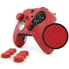 ElitePro Grip STUDDED Skin Set for Xbox One ELITE Controller by Foamy Lizard  Sweat Free Silicone Skin w Raised Antislip Studs PLUS set of 8 QSXElite Thumb Grips SKIN  QSXE GRIPS RED ** Check out the image by visiting the link.Note:It is affiliate link to Amazon.