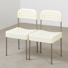 Pair of Box dinner chairs by Enzo Mari for Anomia Castelli, 1970s