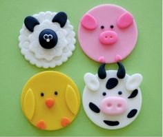 How to make these cute farm animal toppings from fondant icing - extremely easy . - How to make these cute farm animal toppings from fondant icing – extremely easy tutorial! Easy Fondant Cupcakes, Easy Fondant Decorations, Fondant Cookies, Fondant Cupcake Toppers, Cupcake Icing, Fondant Icing, Easter Cupcakes, Cute Cupcakes, Cupcake Cakes
