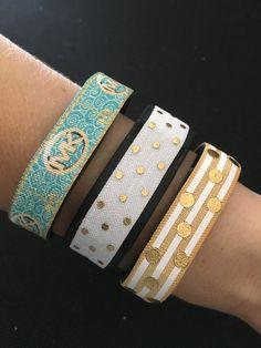Designer Fitbit Band. Fitbit Alta, Flex, Flex 2, Charge & ChargeHR Elastic Bands, Set/3: Designer Print (MK01), White/Gold Dots (PD08), Gold Stripe Dots (SP01) by BananaWindDesign on Etsy