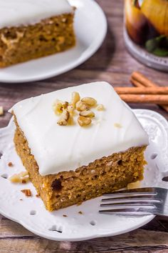 This moist pumpkin cake with cream cheese frosting is filled with brown sugar, spices & all your favorite fall flavors. Then topped with cream cheese frosting - it's the perfect pumpkin cake recipe!